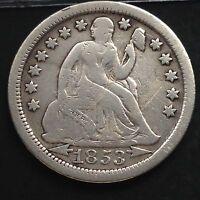 USA 1853 Seated Liberty Dime Philadelphia 10 Cent Silber Selten F 3826