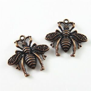 30pcs Antiqued Red Style Alloy Honey Bee Shaped Pendants Charms Jewelry 31772