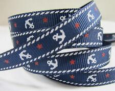 "25 yards Navy Blue Ship Anchor 3/8"" Grosgrain Print Ribbon/Roll/Sail/Sailor R159"