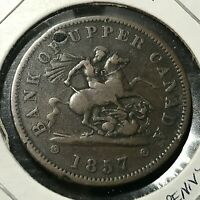 1854 BANK OF UPPER CANADA HALF PENNY TOKEN