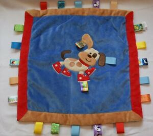 Taggies Buddy Dog Security Baby Lovey Blanket Puppy Sneakers  Blue Red Brown