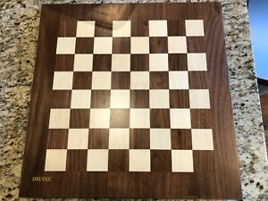 "Drueke 18"" Chess Board Solid Wood 1.75"" Squares Vintage Large Double-sided"