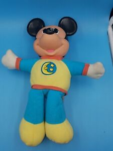 "Vintage Mattel ArcoToys Mickey Mouse Hug & Glo Glow Light Up Plush Doll 13"" tall"