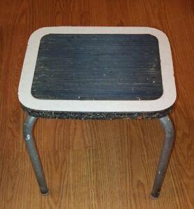 Vintage Step Stool Metal Legs Black Non Skid Top