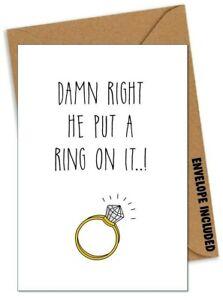 Funny Wedding Engagement Card Humour Comedy Rude Congratulations Banter /BB
