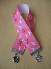 Handmade Labrador Dog Bookmark Ribbon Charm Puppy Pink White Paw Top Dog Bowl