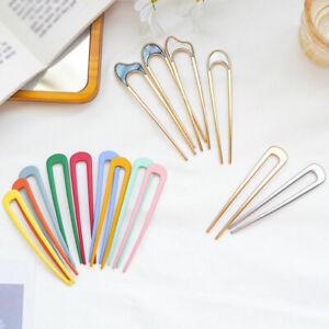 1PC Japan Style U Shape Hair Clip Metal Alloy Simple Barrettes Girl Hair Sticks