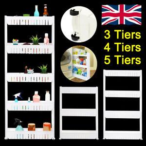 3/4/5 Tier Movable Slim Slide Kitchen Storage Trolley Rack Stands Carts On Wheel