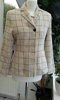 Laura Ashley Wool Checked Jacket - Black & Cream - size 10
