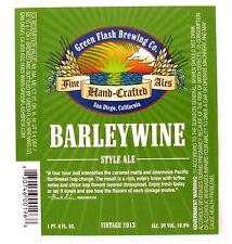 Green Flash Brewing BARLEYWINE STYLE ALE beer label San Diego CA  22oz