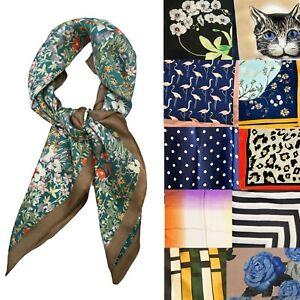 Big Square Ladies Faux Silk Head Neck Thin Scarf Bandana Bag Charm - 70cm x 70cm