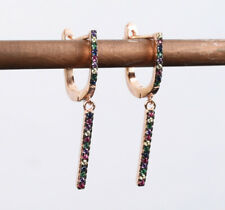 COLORFUL RUBY ROSE GOLD COLORED OVER .925 STERLING SILVER EARRINGS #59377