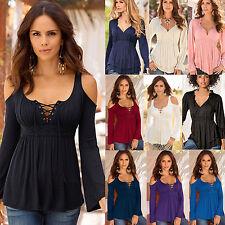 Mujer Hombro Descubierto Suéter Cordones Cuello Camiseta Informal Blusa Camiseta