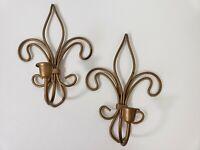 """2 Vintage gold metal Wall Sconces taper Candle Holders Fleur De Lis Motif 9.75"""""""
