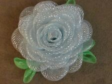 HOMEMADE DECO-MESH GORGEOUS SILVER (FROZEN)   ROSE WREATH (16 INCH)