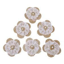 6pcs Handmade Jute Hessian Burlap Flowers Rose Shabby Chic Wedding Decor Pop