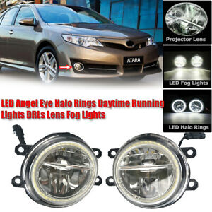 LED Fog Light Kit Angel Eye Rings DRL Daytime Running Lamp Fit For Toyota Camry