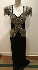 Vintage Oleg Cassini beaded evening gown Size 8 NEW NWT Black Gold Silver Beaded