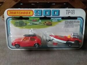 Matchbox 900 TP-18 VW Golf And Boat WithTrailer Red On Card
