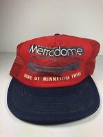 Vintage Minnesota Twins Snapback Hat Hubert Humphrey Metrodome Trucker Mesh