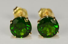 BEENJEWELED NATURAL GENUINE MINED CHROME DIOPSIDE EARRINGS~14 KT YELLOW GOLD~6MM
