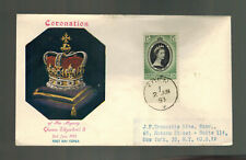 1953 Aden Kathiri Coronation to USA FDC first day cover QE2 Queen Elizabeth II