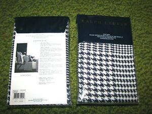 """(2) RALPH LAUREN """"LOMBARD"""" Houndstooth KING Pillow Shams (20 x 36)"""
