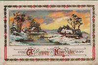 Antique Vintage Postcard Sander Happy New Year Beautful Embossed Snow Scene 1921