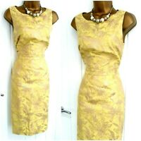MONSOON size 8 lemon gold shimmer pencil dress wedding occasion party summer J