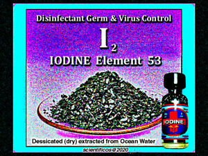 lODINE Crystals 2oz / 60gm ACS 99.8% in V-cone capped lab bottle
