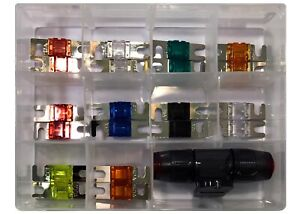 21 Piece Mini ANL Fuse Assortment With Fuse Holder Block 20 Amp to 150 Amp Kit