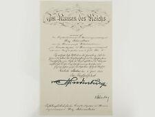 WWII German Commission to Lt Commander Ink Signed Von Hindenburg
