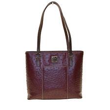 Dooney & Bourke Small Lexington Shopper Ostrich Emb Leather Burgundy BEAUTY Bag