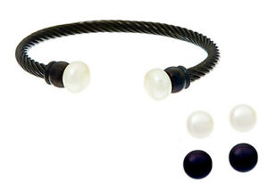 Honora Interchangeable Pearl  Earring and Bracelet Set jet / size large