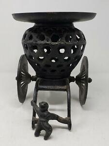 Vintage Japan Cast Iron Train Pump Trolley candle lamp/lantern Hurricane