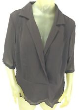 NWT! Womens Lane Bryant Brown Peplum Faux Wrap Blouse Top Shirt Sz 14/16 $39.50
