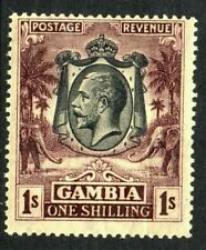 GAMBIA Stamps 1922  SG 134  1/- Purple/Yellow Wmk MSCA  Mounted Mint