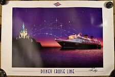"""Disney Cruise Line """"Wonder Ship, 2000"""" Signed Poster by Captain Henry!"""