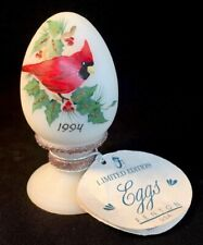 Fenton Art Glass Hand Painted Cardinal On Ivory Satin Egg Dated 1994 limited Qvc