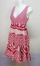 MISS SELFRIDGE pink cotton print V neck sleeveless Tiered empire skater dress 12