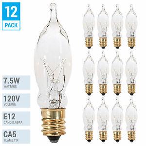 Pack 7.5W CA5 Candelabra E12 Incandescent 120V Flame Tip Chandelier Petite Bulbs