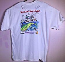 NWOT GEORGE POVEROMO Roland Martin Big Fish AUTOGRAPHED T Shirt size XL Fishing