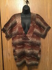 Joseph A Sweater Womens Size XL Brown Neutral NWT $68 Knit V Neck Short Sleeve
