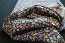 Japanese Silk Fabric Blue with Orange and White Blossoms 1042r