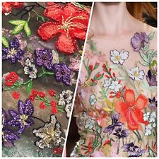 Novelty Couture 100% Silk Floral Mesh Beaded & Embroidered Fabric- By The Yard