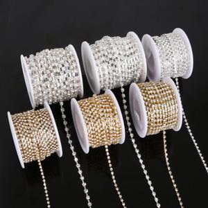 10yard Silver & Gold Glass Rhinestone DIY Sparse Chain Clear Trim Sewing Craft