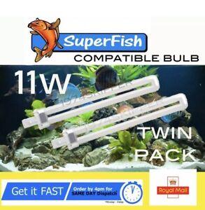 SUPERFISH 11W 2 PIN  LIGHT BULB FOR AQUA 40 / 65 AQUARIUM FISH TANK Twin Pack