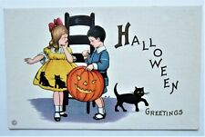 Stecher Art Deco HALLOWEEN Greetings CHILDREN Cat JOL Embossed Unused Postcard