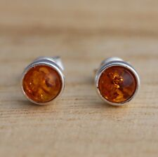 Cognac Baltic Amber 925 Sterling Silver Round Stud Earrings Jewellery
