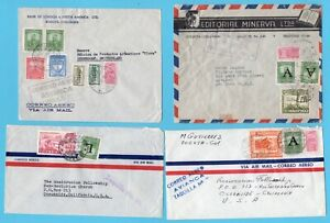 COLOMBIA 4 air covers Avianca 1950-1952 to USA / Switzerland